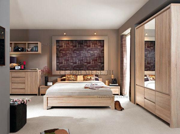 Кровать Каспиан LOZ140х200/ LOZ160х200 дуб сонома (без основания) (фото, вид 2)