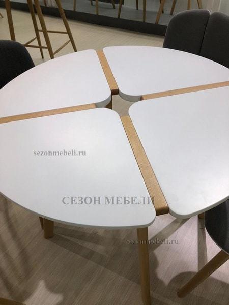 Стол JASMINE D90 белый/массив бука (фото, вид 2)