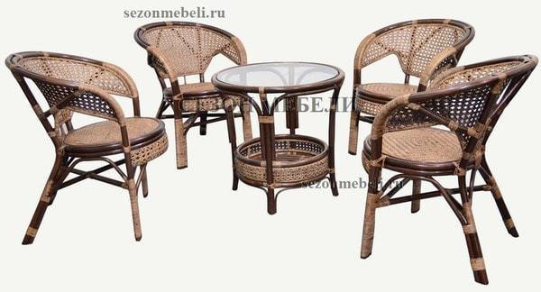 Комплект Pelangi (Пеланги) 02/15 (Walnut - Грецкий орех) стол со стеклом + 4 кресла (фото, вид 4)