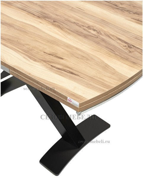 Стол KRIS TROPIC 120 см орех / черный (фото, вид 2)