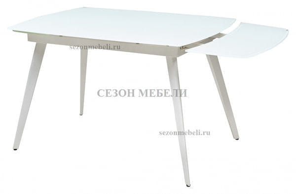 Стол ELIOT 120 FROSTED SUPER WHITE белое матовое стекло/ белый каркас (фото, вид 1)