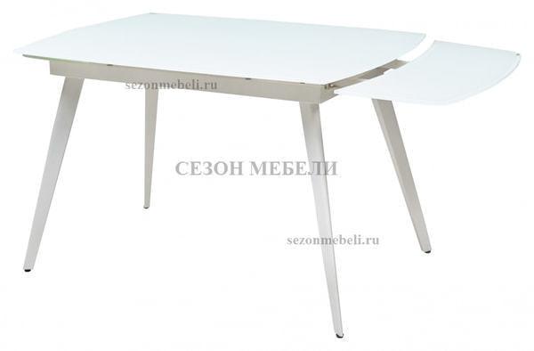 Стол ELIOT 120 FROSTED SUPER WHITE белое матовое стекло/ белый каркас (фото, вид 1)