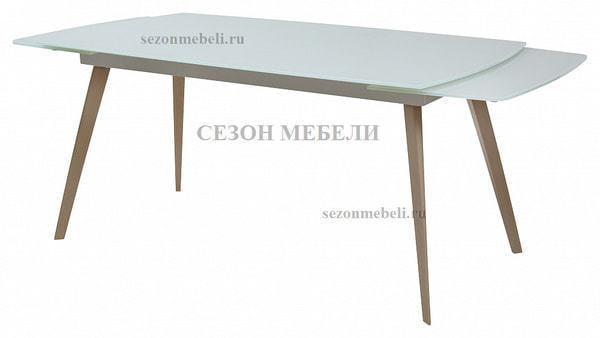 Стол ELIOT 120 Super white glass+Wood (фото, вид 1)