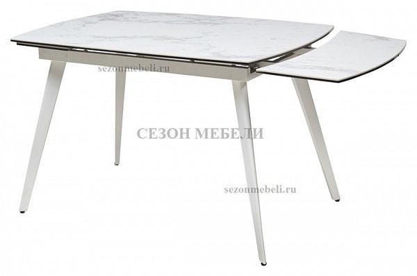 Стол ELIOT 120 CHINESE MARBLE WHITE керамика/ белый каркас (фото, вид 1)