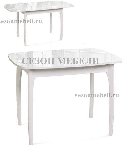 Стол М15 ДН4 белый/стекло белое (фото, вид 1)