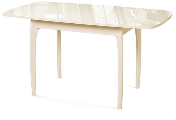 Стол №40 ДН4 слоновая кость/стекло бежевое (фото, вид 1)