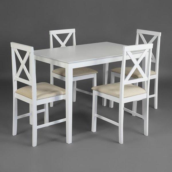 Обеденная группа Хадсон (стол + 4 стула)/ Hudson Dining Set (белый) (фото, вид 1)