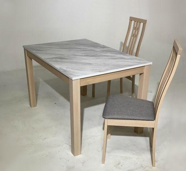 Обеденная группа (стол TME-6931 MBH MILKY WHITE/ SWEDEN + 4 стула СB-2482YBH MILKY WHITE/ CAMEL) (фото, вид 1)