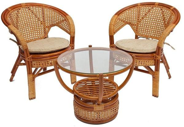 Комплект Pelangi (Пеланги) 02/15 (Honey - Мёд) стол со стеклом + 4 кресла (фото, вид 1)