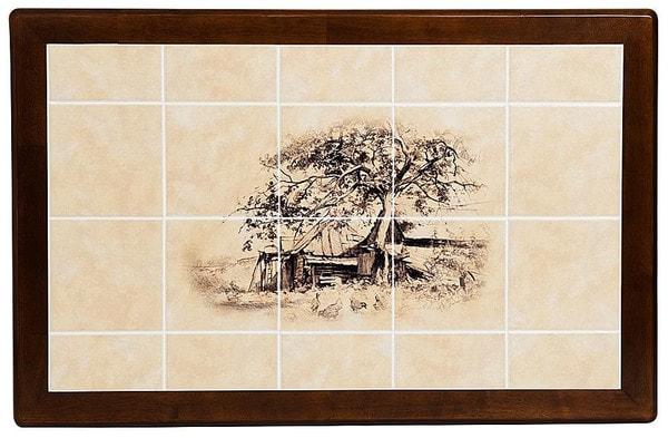 Стол обеденный с плиткой CT 3045P темный дуб (Дерево) (фото, вид 1)