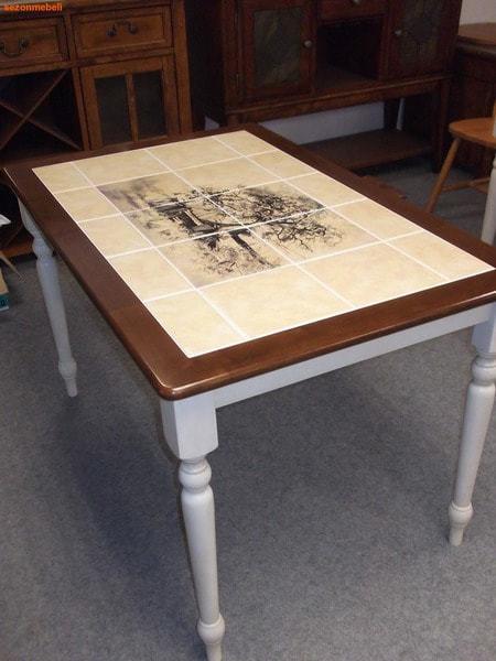 Стол обеденный с плиткой CT 3045P Античный белый/Тёмный Дуб (Дерево) (фото, вид 1)