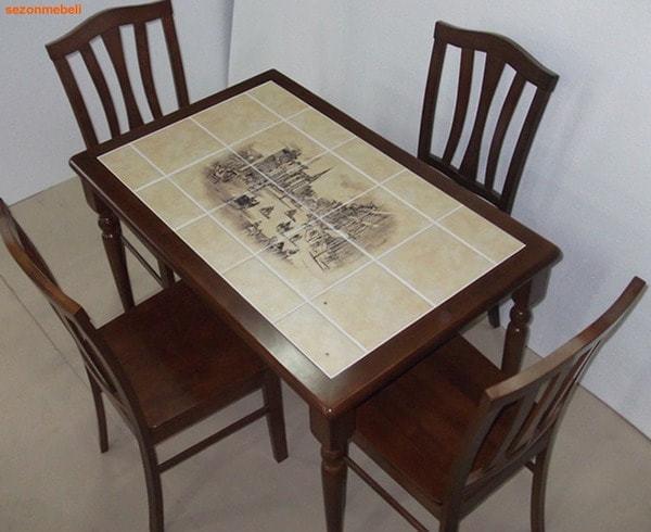 Стол обеденный с плиткой CT 3045P темный дуб (Город) (фото, вид 1)