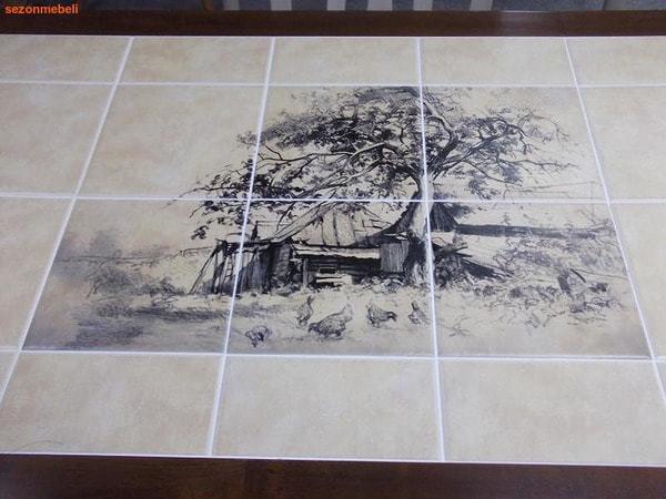 Стол обеденный с плиткой CT 3045P темный дуб (Город) (фото, вид 2)