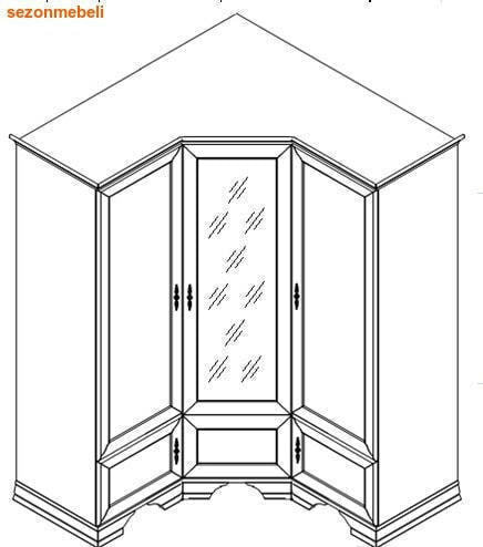 Шкаф угловой Кентаки SZFN5D каштан (фото, вид 1)