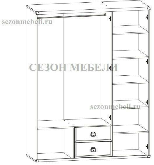 Шкаф Индиана JSZF 3D 2S 150 дуб (фото, вид 1)