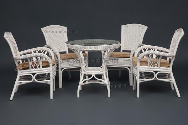 Обеденная группа Andrea White (Андреа Белый) стол+4 кресла (фото, вид 2)