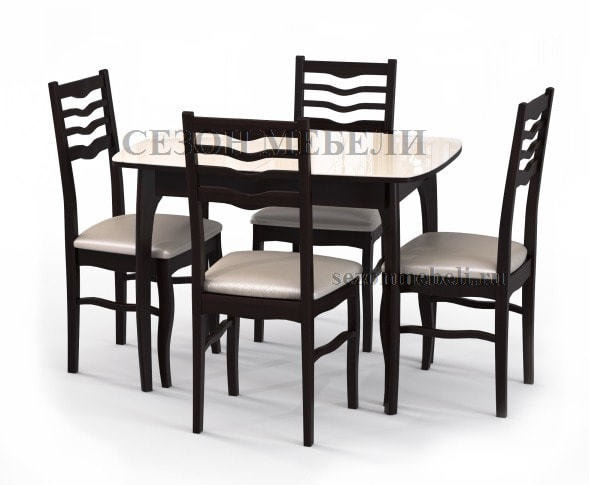 Стол М15 ДН4 венге/стекло бежевое (фото, вид 2)