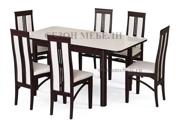 Стол №41 венге/ стекло белое (фото, вид 2)