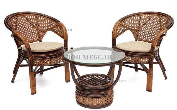 Комплект Pelangi (Пеланги) 02/15 (Walnut - Грецкий орех) стол со стеклом + 4 кресла (фото, вид 1)