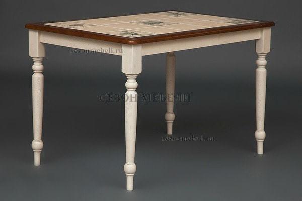 Стол с плиткой CT 3045P античный белый/тёмный дуб (Прованс) (фото, вид 2)