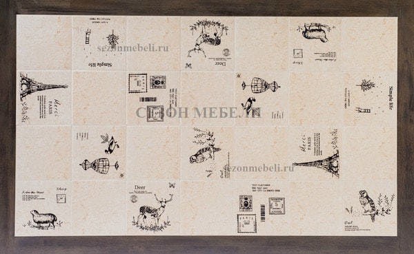 Стол LT T17366 DARK GREY G521/ плитка белая с черно-белым рисунком Париж (фото, вид 1)