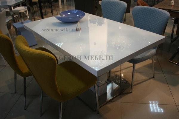 Стол QUADRO 140 WHITE GLASS белый глянец (фото, вид 6)