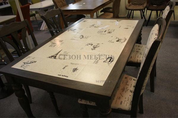 Стол LT T17366 DARK GREY G521/ плитка белая с черно-белым рисунком Париж (фото, вид 4)