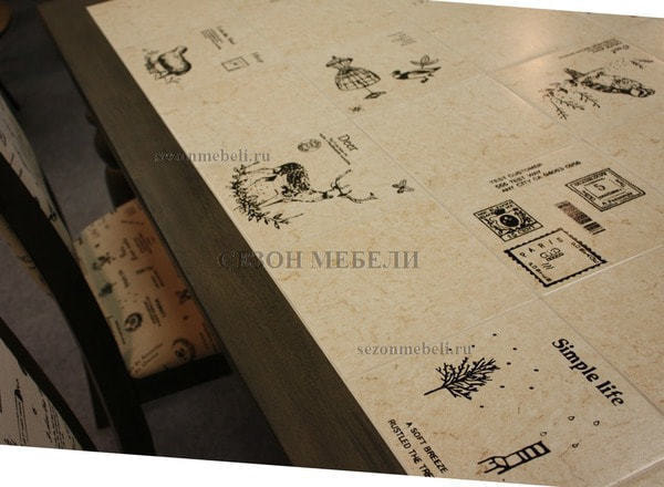 Стол LT T17366 DARK GREY G521/ плитка белая с черно-белым рисунком Париж (фото, вид 5)