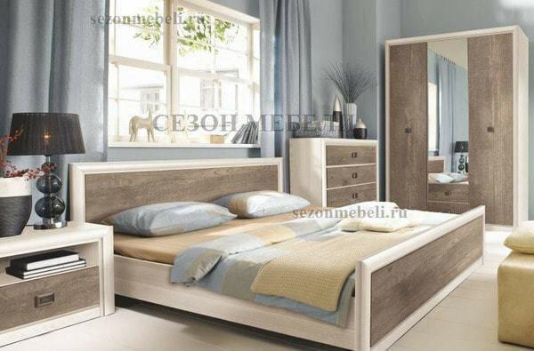 Кровать Коен LOZ140/160/180x200 ясень снежный/ сосна натуральная (фото, вид 1)