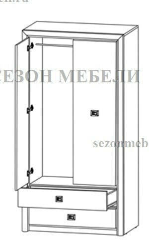 Шкаф платяной Коен SZF2D2S ясень снежный/ сосна натуральная (фото, вид 1)