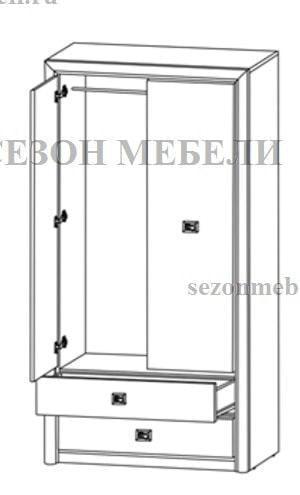Шкаф платяной Коен SZF2D2S венге магия (фото, вид 1)