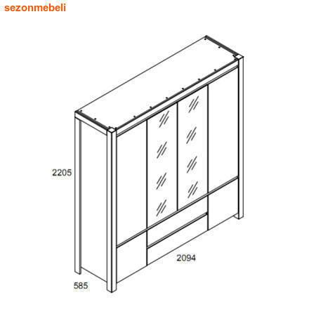 Шкаф с 2 зеркалами Август SZF 6D2S (фото, вид 2)