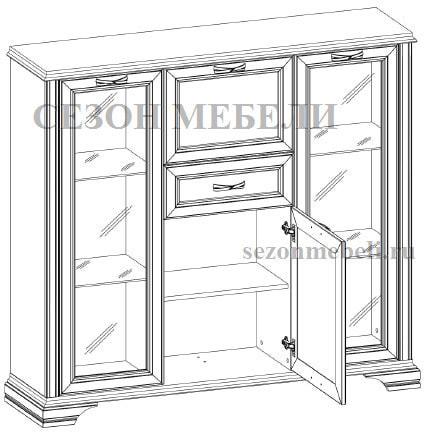 Шкаф с витриной Монако (Monako) 2V2D1S (возможна подсветка) (фото, вид 1)