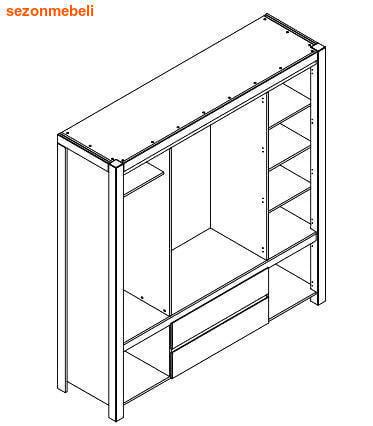 Шкаф с зеркалом Август SZF 5D2S (фото, вид 2)