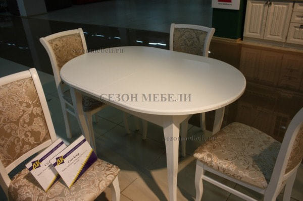 Стол обеденный Лемур белая эмаль (фото, вид 1)