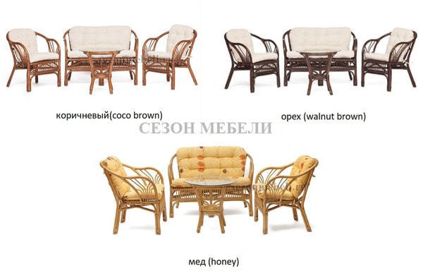 Комплект для отдыха New Bogota (диван + 2 кресла + стол со стеклом) (фото, вид 22)