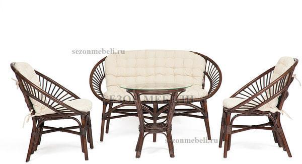 Комплект для отдыха Turkey (Туркей) (стол круглый со стеклом+2 кресла + диван) (фото, вид 1)