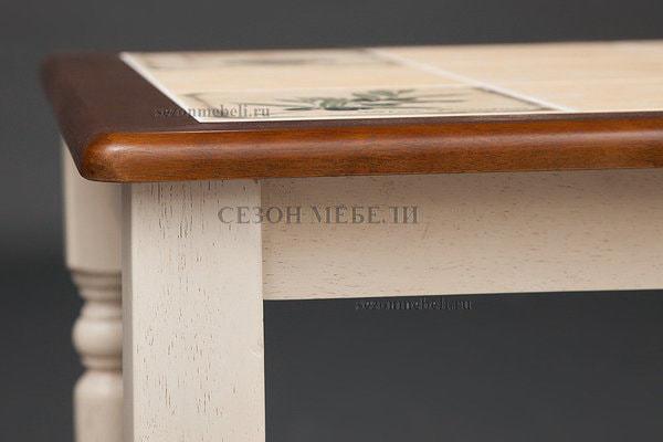 Стол с плиткой CT 3045P античный белый/тёмный дуб (Прованс) (фото, вид 3)
