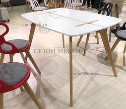 Стол OXALIS 120 белый/массив бука. Вид 2