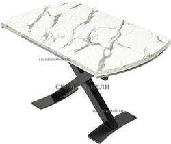 Стол KRIS MARBLE 120 см белый мрамор / черный. Вид 2
