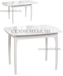 Стол М15 ДН4 белый/стекло белое. Вид 2