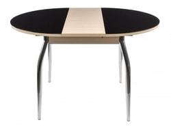 Стол Гала-3 беленый дуб/стекло черное. Вид 2