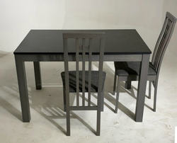 Обеденная группа (стол TME-6932 MBH GREY/ GREY STONE серый камень + 4 стула СB-2482YBH GREY / CHARCOAL). Вид 2