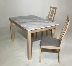 Обеденная группа (стол TME-6931 MBH MILKY WHITE/ SWEDEN + 4 стула СB-2482YBH MILKY WHITE/ CAMEL). Вид 2