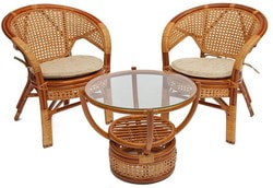 Комплект Pelangi (Пеланги) 02/15 (Honey - Мёд) стол со стеклом + 4 кресла. Вид 2