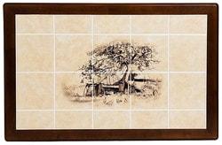 Стол обеденный с плиткой CT 3045P темный дуб (Дерево). Вид 2
