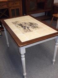 Стол обеденный с плиткой CT 3045P Античный белый/Тёмный Дуб (Дерево). Вид 2