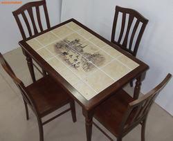 Стол обеденный с плиткой CT 3045P темный дуб (Город). Вид 2