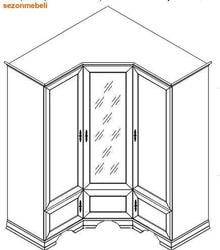 Шкаф угловой Кентаки SZFN5D каштан. Вид 2