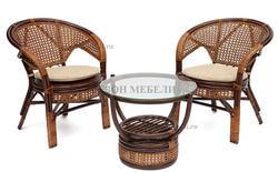 Комплект Pelangi (Пеланги) 02/15 (Walnut - Грецкий орех) стол со стеклом + 4 кресла. Вид 2